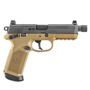 "FN FNX-45 Tactical Semi Auto Handgun .45 ACP 5.3"" Threaded Barrel 10 Rounds Fixed 3 Dot Night Sights MIL-STD-1913 Accessory Rail Ambidextrous Black/Flat Dark Earth"