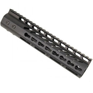 "Guntec AR-15 9"" Ultra Lightweight Thin KeyMod Free Floating Handguard with Monolithic Top Rail 7.5 oz Aluminum Black"