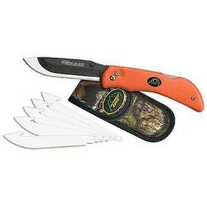 "Outdoor Edge Razor Blaze Folding 3.5"" Plain 420J Steel Blade Rubberized Kraton Handle Blaze Orange with Replacement Blades RB-20"
