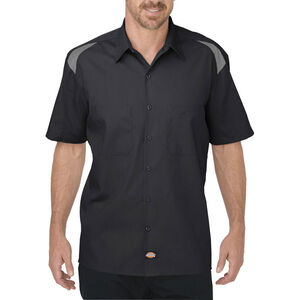 Dickies Men's Short Sleeve Performance Shop Shirt 2XL Tall Black/Smoke