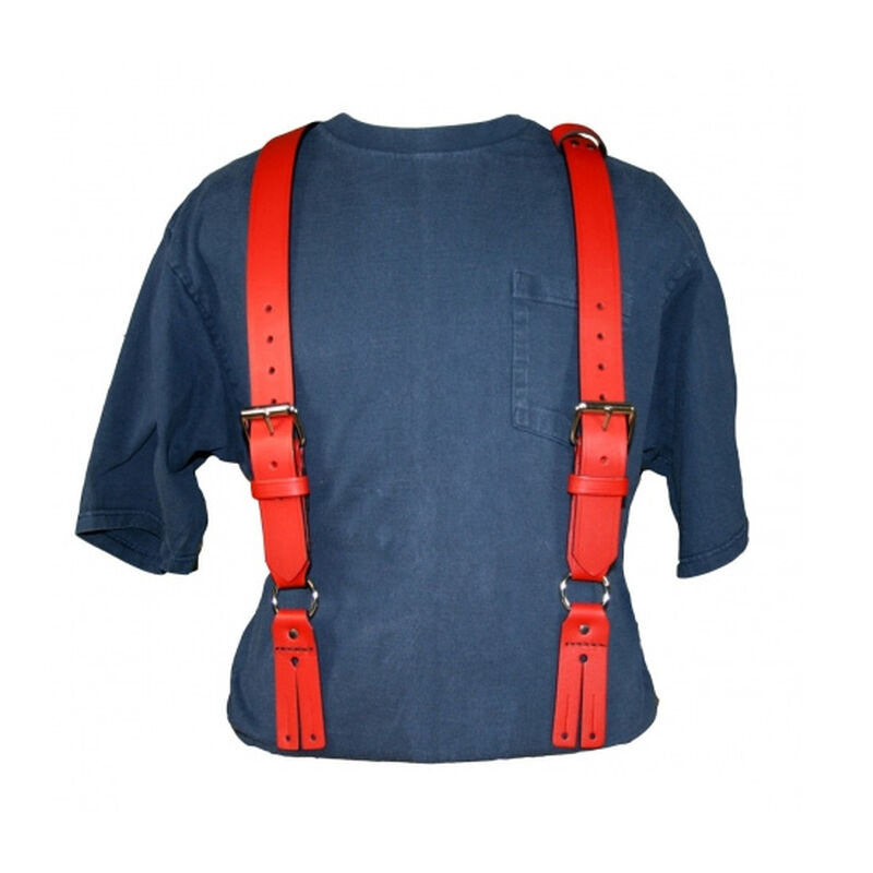 Fireman's Leather Suspenders Regular Leather Red