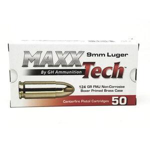 MAXXTech 9mm Luger Ammunition 50 Rounds FMJ 124 Grains PTGB912B
