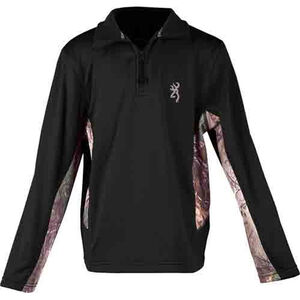 Browning Youth Long Sleeve Pull Over 1/4 Zip Black/Camo Large
