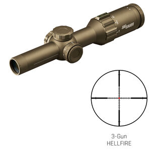 SIG Sauer Tango6T 1-6x24 Riflescope Illuminated Hellfire 3 Gun Reticle 30mm Tube .20 MRAD Adjustments Fixed Parallax Second Focal Plane CR2032 Battery FDE