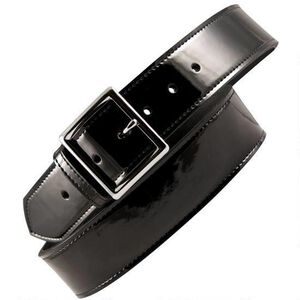 "Boston Leather 6505 Leather Garrison Belt 48"" Nickel Buckle Clarino Leather Black"