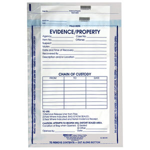 Sirchie Integrity Evidence Bags 3.2 Mil Thickness Tamperproof Seal Individually Numbered IEB1200