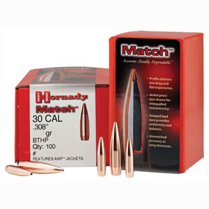 "Hornady Match 30 Caliber Bullets .308"" Diameter 155 Grain JHP-BT 100 Pack 3039"