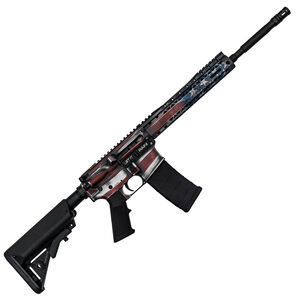 "Black Rain Ordnance BRO SPEC15 American Flag AR-15 Semi Auto Rifle 5.56 NATO 30 Rounds 10"" BRO SLIM M-LOK Free Float Hand Guard Collapsible Stock American Flag Finish"