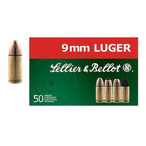 Sellier & Bellot 9mm Luger Ammunition 50 Rounds Subsonic FMJ 140 Grains SB9G