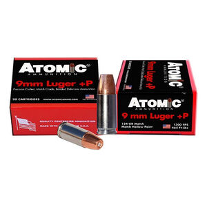 Atomic Ammunition 9mm Luger+P 124gr Bonded JHP 20rds