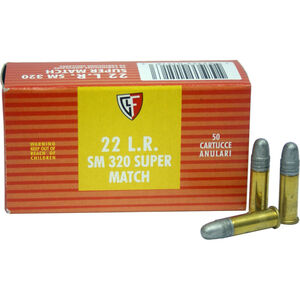 FIOCCHI .22LR Ammunition 50 Rounds, Super Match LRN, 40 Grains