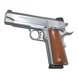"American Classic 1911 Commander Semi Automatic Handgun .45 ACP 4.25"" Barrel 8 Rounds Checkered Wood Grips Hard Chrome Finish ACC45C"