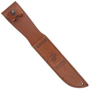 """Ka-Bar Leather Sheath USMC Logo, Fits Knife with 7"""" Blade, Brown"""