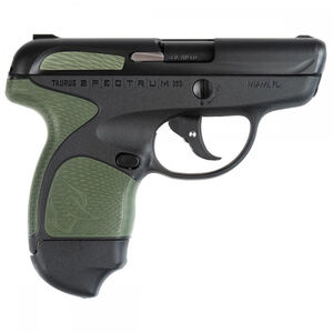 "Taurus Spectrum Semi Auto Pistol .380 ACP 2.8"" Barrel 6/7 Round Magazines Low Profile Fixed Sights Black Slide/Polymer Frame Black/OD Green Accents"
