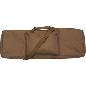 """Bob Allen Rectangular Tactical Rifle Case 42"""" with External Storage Pocket Padded Synthetic Fabric Tan"""