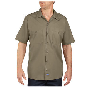 Dickies Short Sleeve Industrial Permanent Press Poplin Work Shirt Extra Large Tall Desert Sand LS535DS
