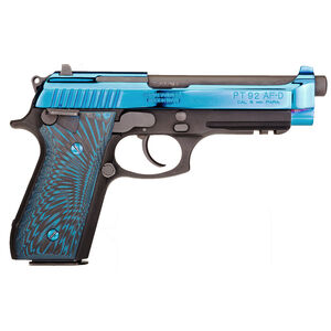 "Taurus Model 92 9mm Luger Semi Auto Pistol 5"" Barrel 17 Rounds Integrated Front Sight/Drift Adjustable Rear Sight Accessory Rail G10 Grips Polished Blue PVD Slide/Black"