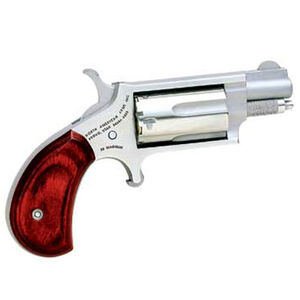 """North American Arms Mini Revolver .22 WMR 1.125"""" Steel Stainless Wood 5 Rounds Red/Black Grip 4.6oz Fixed Sights NAA-22MS-GRB"""