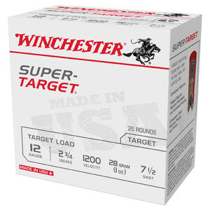 "Winchester Super-Target 12 Gauge Ammunition 250 Round Case 2-3/4"" #7.5 Lead 1oz 1200 fps"