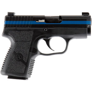 "Kahr Arms PM9 Thin Blue Line 9mm Luger Semi Auto Pistol 3.1"" Barrel 5 Rounds Special Edition Night Sights Black Polymer Frame Black Cerakote Finish with Blue Line"