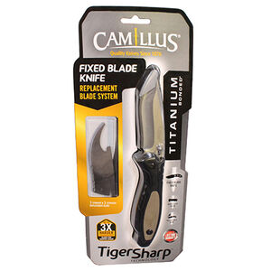 """Camillus Cutlery Tiger Sharp Fixed 3.15"""" Plain Edge Drop Point Blade with Nylon Handle Black/Brown"""