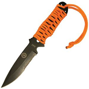 "Ultimate Survival Technologies ParaKnife FS 4.0 Fixed Blade 4"" Partially Serrated Drop Point Stainless Steel Orange Paracord Handle Black Oxide Finish Nylon Sheath 20-02232-08"