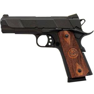 "Iver Johnson Semi Auto Handgun 1911A1 Hawk .45 ACP 4.25"" Barrel 8 Rounds Checkered Wood Grips Matte Blued Finish IJ08"
