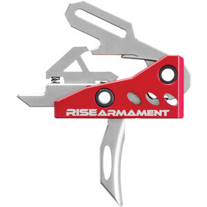 Rise Armament RA-535 Advanced Performance Trigger AR-15 Trigger One Piece Drop In Design Red/Silver Finish