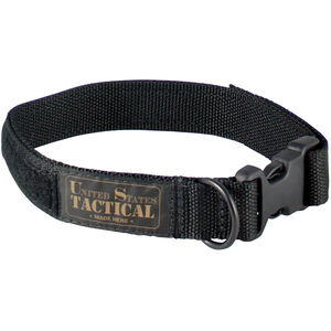"US Tactical K9 Collar Large 1.25"" Wide QR Buckle Velcro Adjustment Nylon Black"