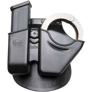 Fobus Magazine/Handcuff Combo Pouch 9mm/.40 Double Stack Mag/S&W Chain Cuffs Paddle Attachment Right Hand Polymer Black