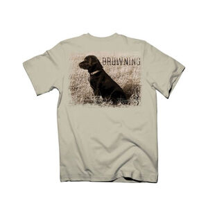 Browning Signature Series Men's T-shirt Black Lab Med Cotton Natural