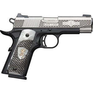 "Browning 1911-380 Compact Black Label High Grade .380 ACP Semi Auto Pistol 3.625"" Barrel 8 Rounds Engraved Slide and White Pearl Grips Polymer Frame Two Tone Stainless/Black Finish"
