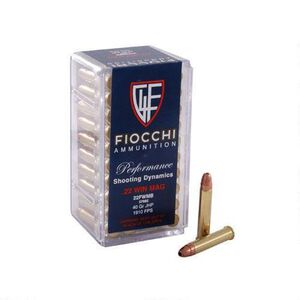 FIOCCHI .22 WMR Ammunition 50 Rounds, Shooting Dynamics JHP, 40 Grains
