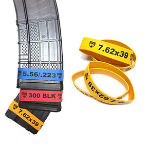 Faxon Magazine Marker Bands 7.62x39 10 Pack Rubber Construction Yellow