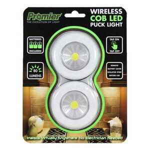 Promier Wireless COB LED Puck Light 80 Lumen 3xAAA Peel and Stick Mounting 2 Pack
