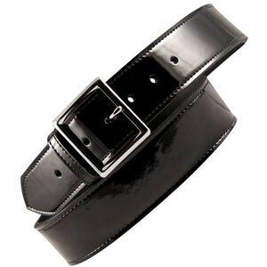 "Boston Leather 6505 Leather Garrison Belt 32"" Nickel Buckle Clarino Leather Black 6505-2-32"
