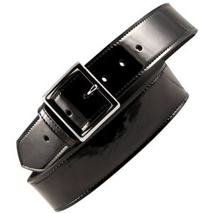 "Boston Leather 6505 Leather Garrison Belt 46"" Nickel Buckle Clarino Leather Black 6505-2-46"