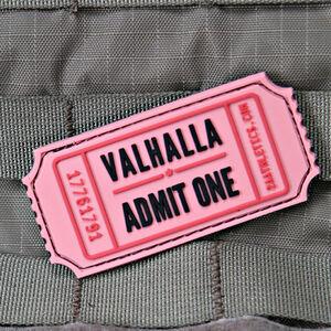 """Violent Little Machine Shop Valhalla Admit One Pink Raffle Ticket Morale Patch 3""""x1.4"""" Pink"""