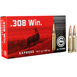 GECO .308 Winchester Ammunition 20 Rounds 165 Grain GECO Express Polymer Tip Projectile