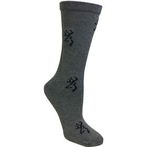 Browning Ladies Heartland Calf Socks Size 6-10 Wool Blend Calf Height Medium Grey with Black Buckmark