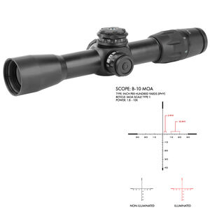 US Optics B-Series B-10 1.8-10x42 Riflescope Illuminated Digital Red MOA Scale Type 1 Reticle 34mm Tube IPHY Adjustments Front Focal Plane Matte Black