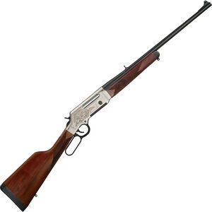 """Henry Long Ranger Deluxe Lever Action Rifle .308 Win 20"""" Barrel 4 Rounds with Sights Engraved Receiver Walnut Stock Nickel/Blued Finish"""