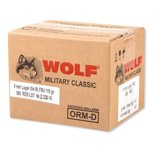 Wolf Military Classic 9mm Luger Ammunition 115 Grain Full Metal Jacket Steel Cased Bi-Metal Jacket 1234fps