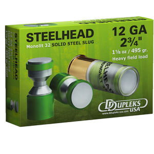 "DDupleks USA Steelhead Monolit 32 12 Gauge Ammunition 5 Rounds 2 3/4"" 1-1/8 oz Solid Steel Slug Lead Free 1410 fps"