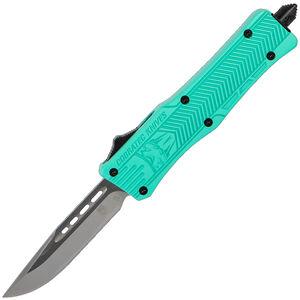CobraTec Knives Small CTK-1 OTF Knife Plain Drop Point Satin D2 Steel Blade Aluminum Handle Tiffany Blue Finish Pocket Clip