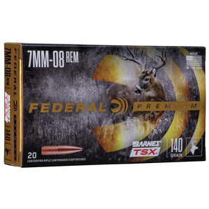 Ammo 7mm-08 Rem Federal 140 Grain Vital-Shok Barnes Triple Shock X-Bullet Lead Free 2820 fps 20 Round Box P708C