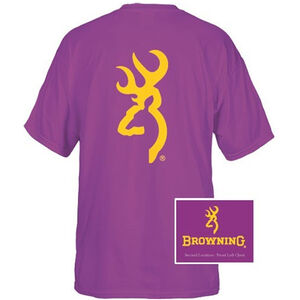 Browning Men's T-Shirt Short Sleeve Large Gold 137 Buckmark Cotton Purple