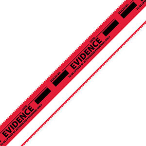 Armor Forensics Evidence Strips Red with White Stripe Tamper Resistant Acetate Tape Box of 100 EVI-ESW