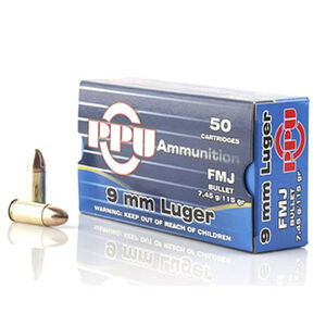 Prvi Partizan PPU 9mm Luger Ammunition 50 Rounds 115 Grain Full Metal Jacket 1145fps