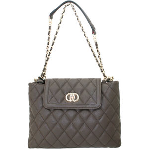 """Cameleon Coco Purse with Concealed Carry Gun Compartment 13""""x8""""x3"""" Quilted Synthetic Leather Brown"""